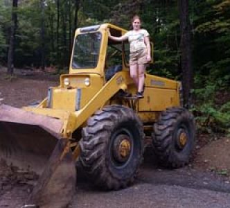 Stephanie using the clockworks loader on the property