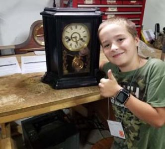 Apprentice Brayden Turgeon bought his first clock to work on